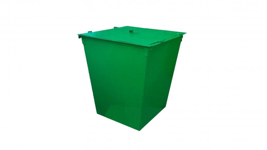 Металлический контейнер с крышкой без колес (0,75 куб. м.)