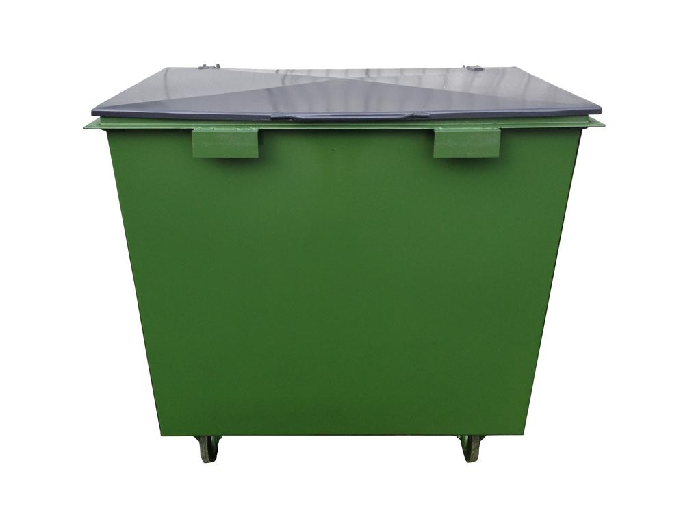 Металлический контейнер с крышкой с колесами (1 куб. м.)