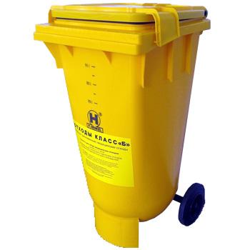 Пластиковый контейнер с крышкой и колесами для сбора медицинских отходов (120 литров) 3700 руб.