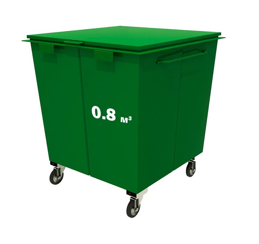 Металлический контейнер без крышки на колесах (0,8 куб. м.)